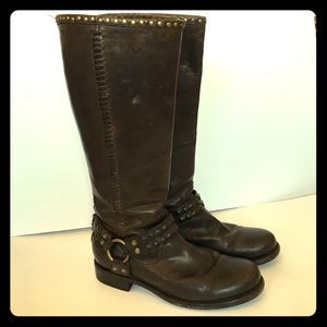 Tall brown Studded Frye boots